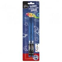 HB-potloden driekantig met gum 2 stuks Ø 1 cm