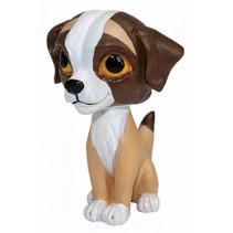 speelfiguur Wuff hond junior 10 cm ABS grijs/wit