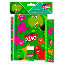 schrijfset Crazy Dino 25 x 19 cm groen 5-delig