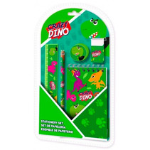 schrijfset Crazy Dino 25 x 13,8 cm groen 5-delig