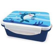 broodtrommel haai 16 x 12 x 6,5 cm wit/blauw