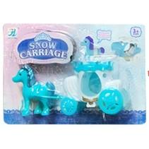 paard met koets 2-delig blauw