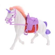 paard met hoorn en zadel 17 cm wit