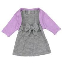 babypoppenjurk met jasje 46 cm grijs/paars