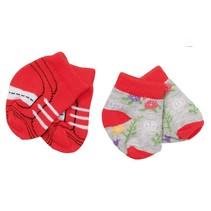 sokken Trend 43 cm dubbelverpakking rood/grijs
