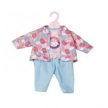 kledingset voor pop van 43 cm roze/lichtblauw