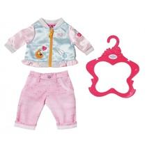 kledingset voor pop van 43 cm lichtblauw/lichtroze