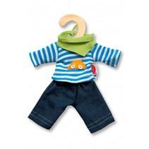 poppensetje 3-delig voor pop van 20-25 cm blauw/groen