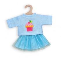 poppenkleding trui met rok blauw 35-45 cm