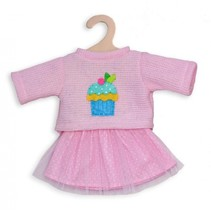 poppenkleding trui met rok roze 35-45 cm