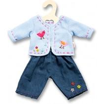 poppenkleren jeans met vestje blauw 28-35 cm