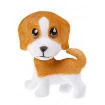 speelfiguur hond junior 7 cm bruin/wit