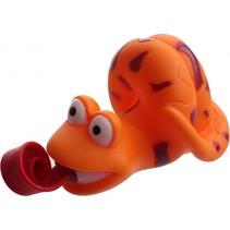 knijpfiguur slang met roltong 6 cm oranje