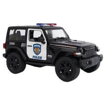 Jeep Wrangler Politie USA junior 12,5 cm staal zwart