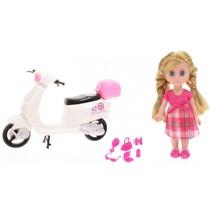 pop Lily Dolls - scooter 15 cm wit/roze/blond 10-delig
