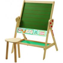 schoolbord met krukje junior 69 x 99 cm hout bruin