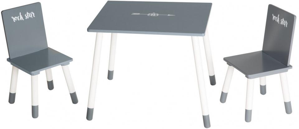 tafel en stoelen Rock Star junior hout grijs/wit 3-delig