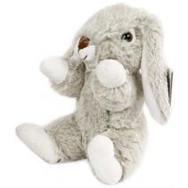 knuffel konijn zitttend pluche 20 cm grijs/wit