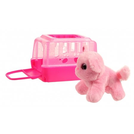LG-Imports hond in bench roze 11 cm