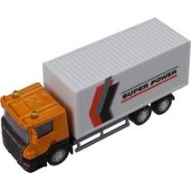 vrachtwagen Super Cars 1:64 geel/wit 14 cm