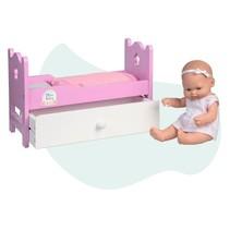 babypop Mini Baby met houten bed en lade 28 cm roze