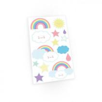 plaktattoos Rainbow & Cloud papier 14 stuks