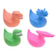 badeend Dino junior blauw/oranje/groen/roze 4-delig