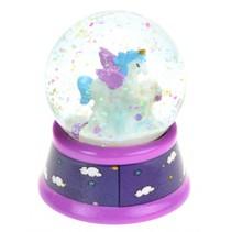 sneeuwbol met glitters Eenhoorn meisjes 6 cm paars