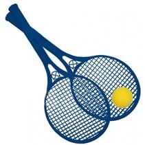Beach Ball rackets 2 stuks en bal 54 cm blauw