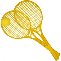 Beach Ball rackets 2 stuks en bal 54 cm geel