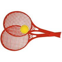 Beach Ball rackets 2 stuks en bal 54 cm rood
