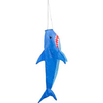 windzak haai 100 x 35 cm polyester blauw