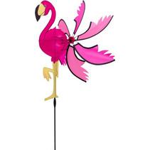 windmolen flamingo 96 x 40 cm polyester roze