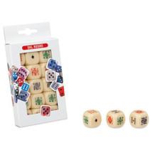 pokerdobbelstenen 2,2 cm beige 15 stuks