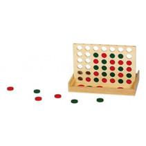 vier-op-een-rij 16 x 24 cm hout naturel/groen/rood