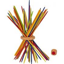 mikado regenboog met kleurendobbelsteen hout 43-delig