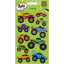 stickervel Puffy Truck jongens vinyl groen 10 stuks