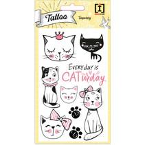 stickervel Tattoo Cats junior papier zwart/wit 9 stuks