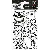 stickervel Glow In The Dark papier zwart/wit 20 stuks