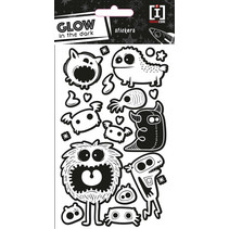 stickervel Glow In The Dark papier zwart/wit 21 stuks