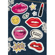 stickers Kisses meisjes 12 x 8,4 cm folie 11 stuks