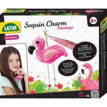 sleutelhangerset Flamingo meisjes kunstleer roze 8-delig