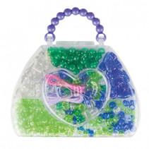 kralenset in handtasje meisjes 14 cm blauw/groen 9-delig