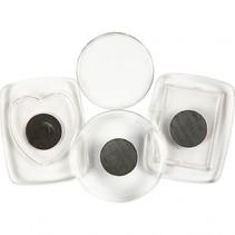 koelkastmagneten 25 - 45 mm rond 3 stuks transparant