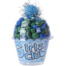 kralenset cupcake blauw 12 cm