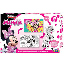 legpuzzel/kleurplaat Minnie Mouse karton 24 stukjes