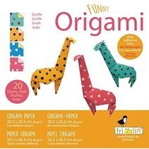 origami Giraffe vouwen 20 x 20 cm 20 stuks multicolor