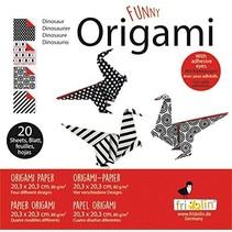 origami Dino vouwen 20 x 20 cm 20 stuks multicolor
