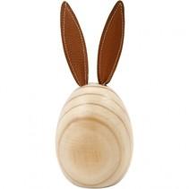 houten konijn 19 cm grenen/leer blank/bruin per stuk