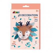 knutselset 3D hert junior karton bruin 5-delig
